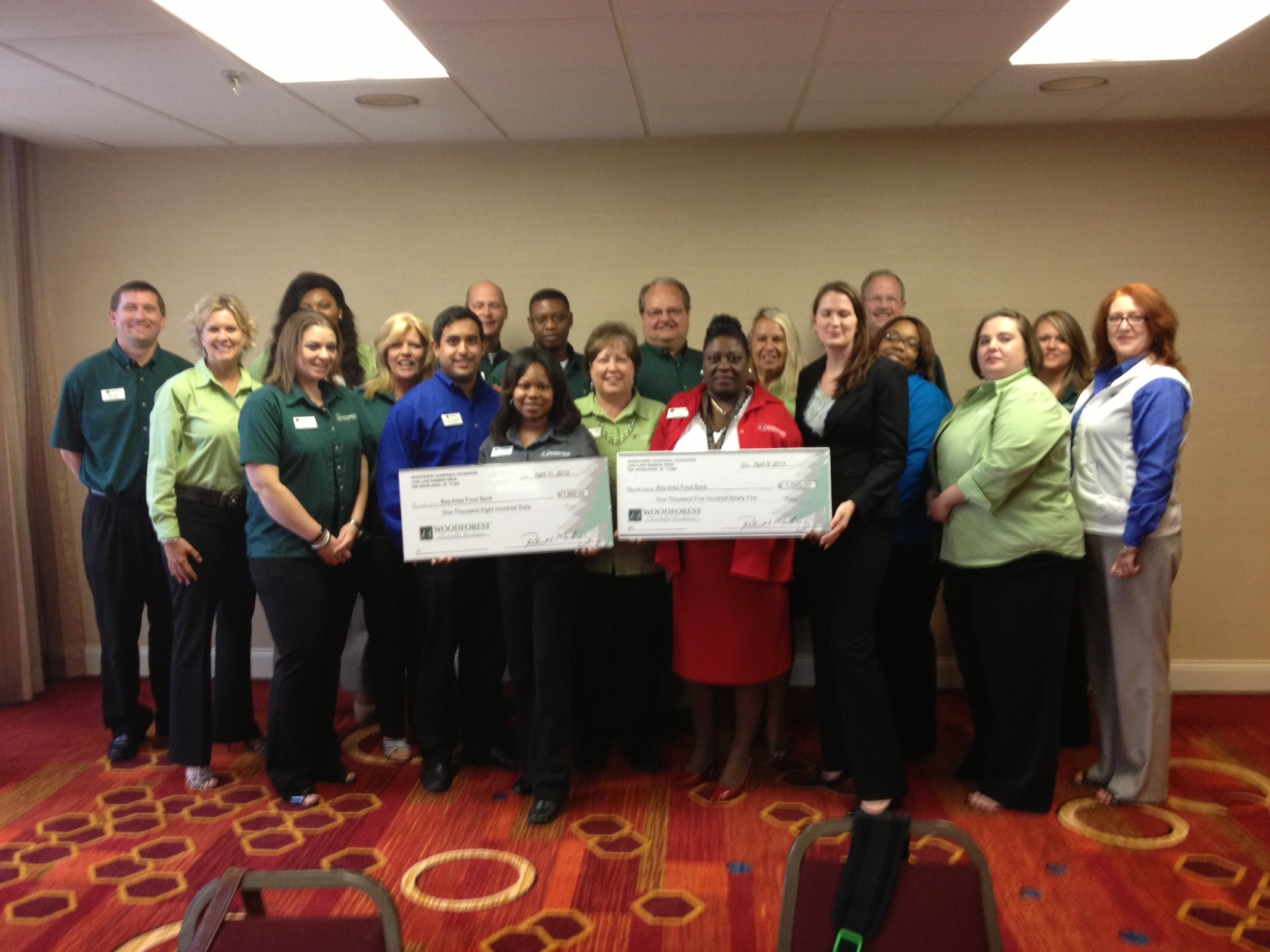Bay Area Food Bank receives $1,595 donation from Woodforest Charitable Foundation.