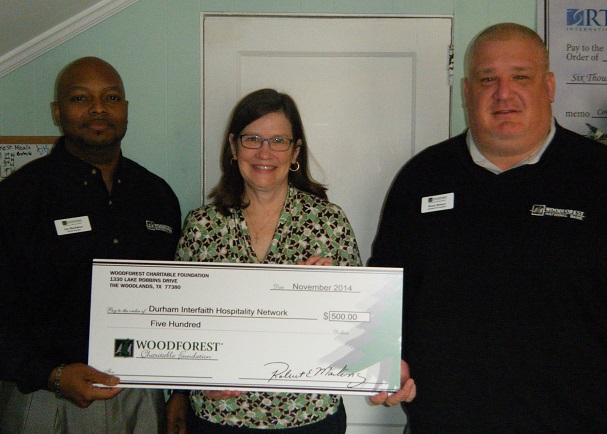 Durham Interfaith Hospitality Network recently received a donation from WCF.