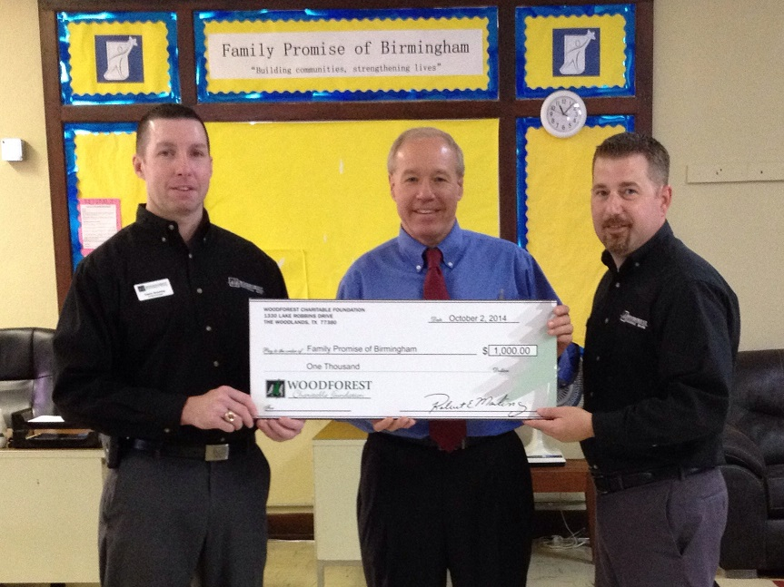 Family Promise of Birmingham recently received a $1,000 donation from WCF.
