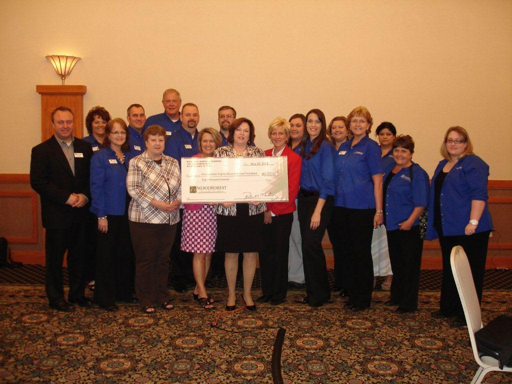 Feeding America Southwest Virginia receives $8,070 donation from Woodforest Charitable Foundation.