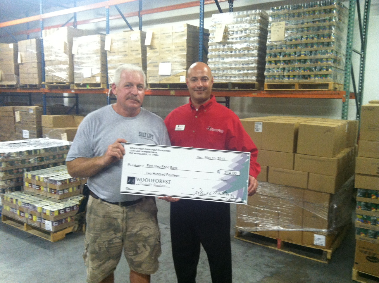 First Step Food Bank receives $214 donation from Woodforest Charitable Foundation.