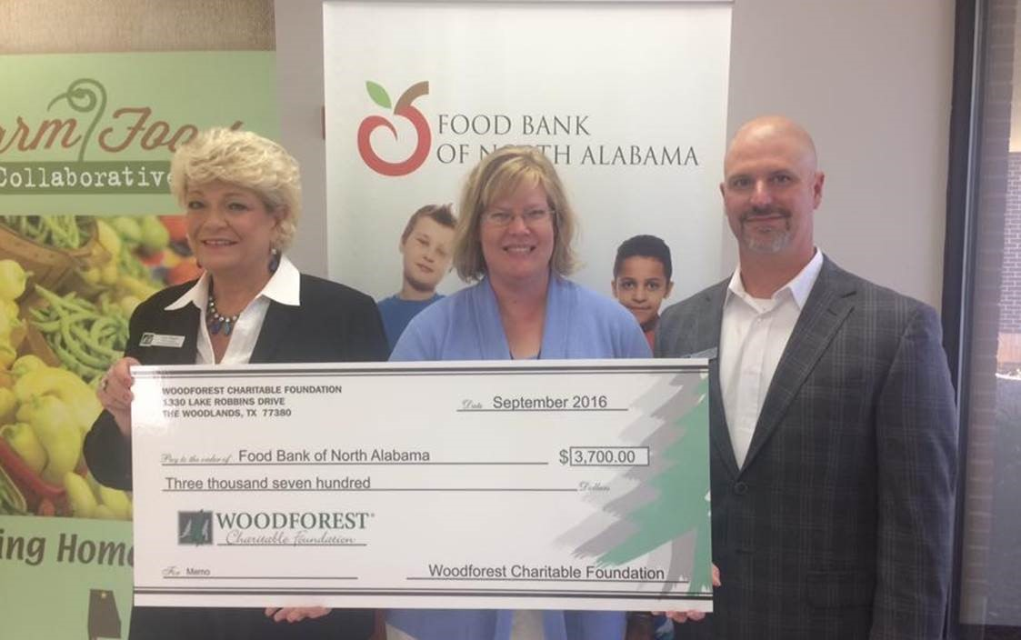 Food Bank of North Alabama received $3,700 from Woodforest Charitable Foundation