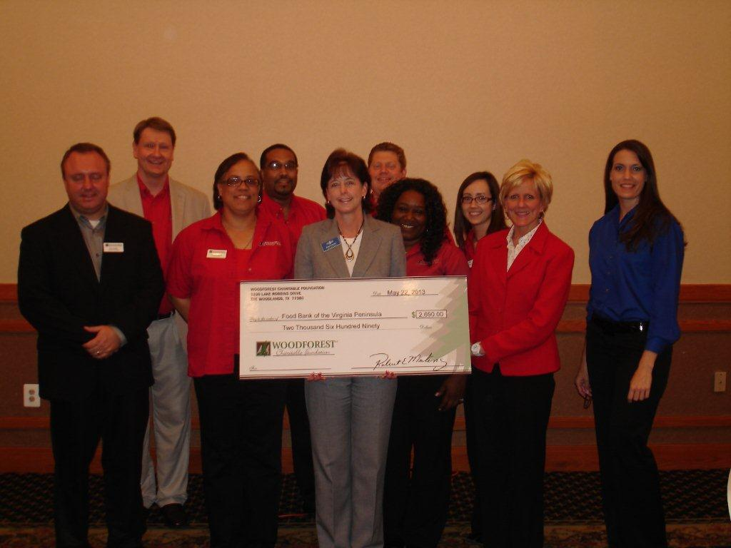 Food Bank of Virginia Peninsula receives $2,690 donation from Woodforest Charitable Foundation.