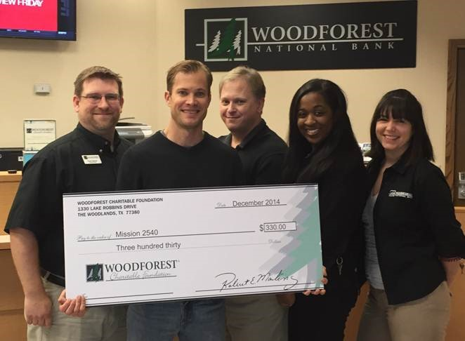 Mission 2540 recently received a $330 donation from Woodforest Charitable Foundation.
