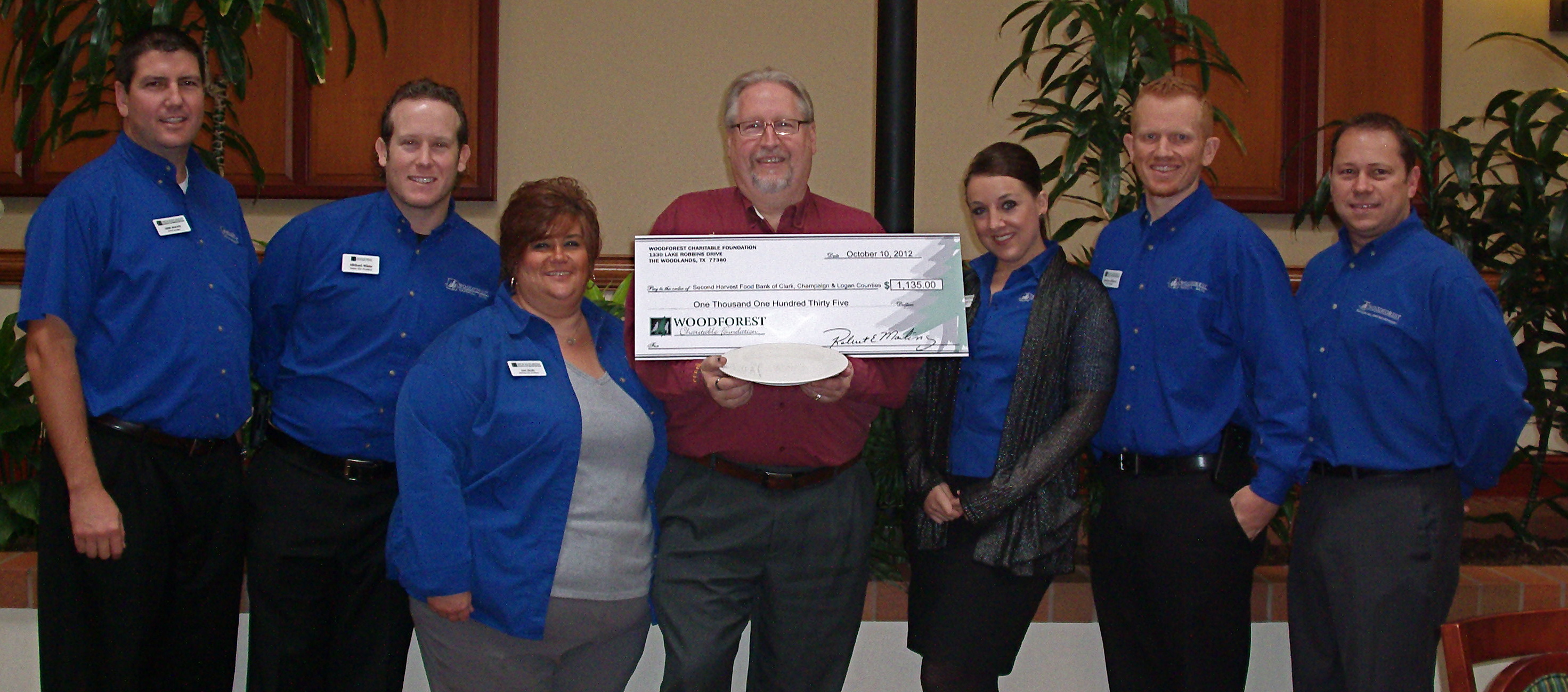 Second Harvest Food Bank of Clark, Champaign and Logan Counties receives $1,135 donation.