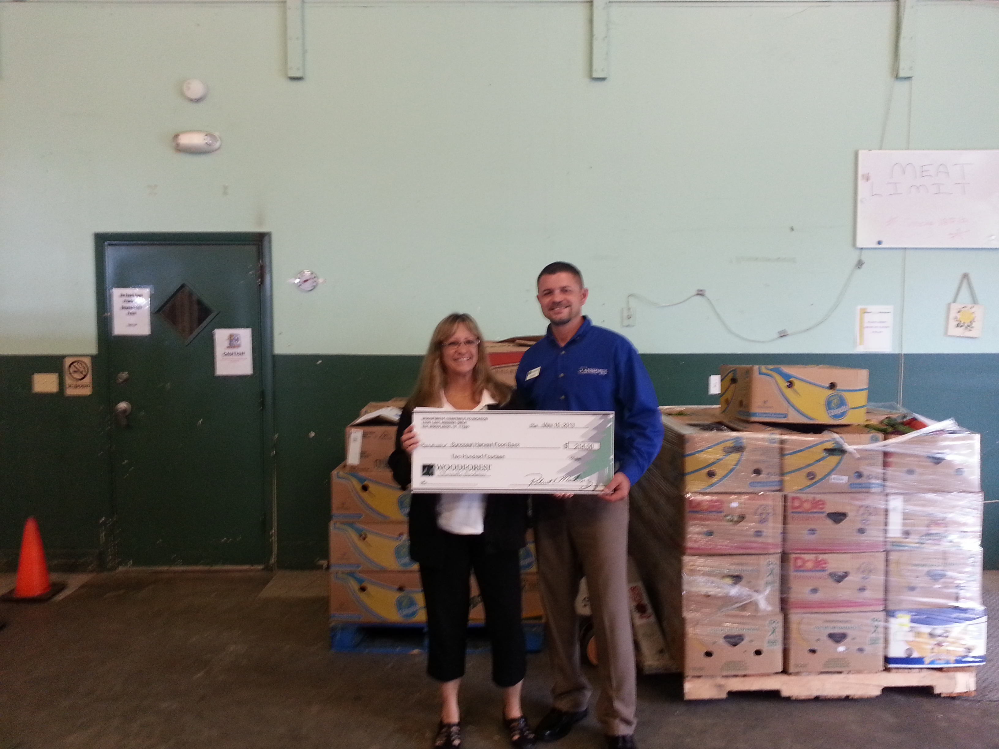 Suncoast Harvest Food Bank receives $214 donation from Woodforest Charitable Foundation.