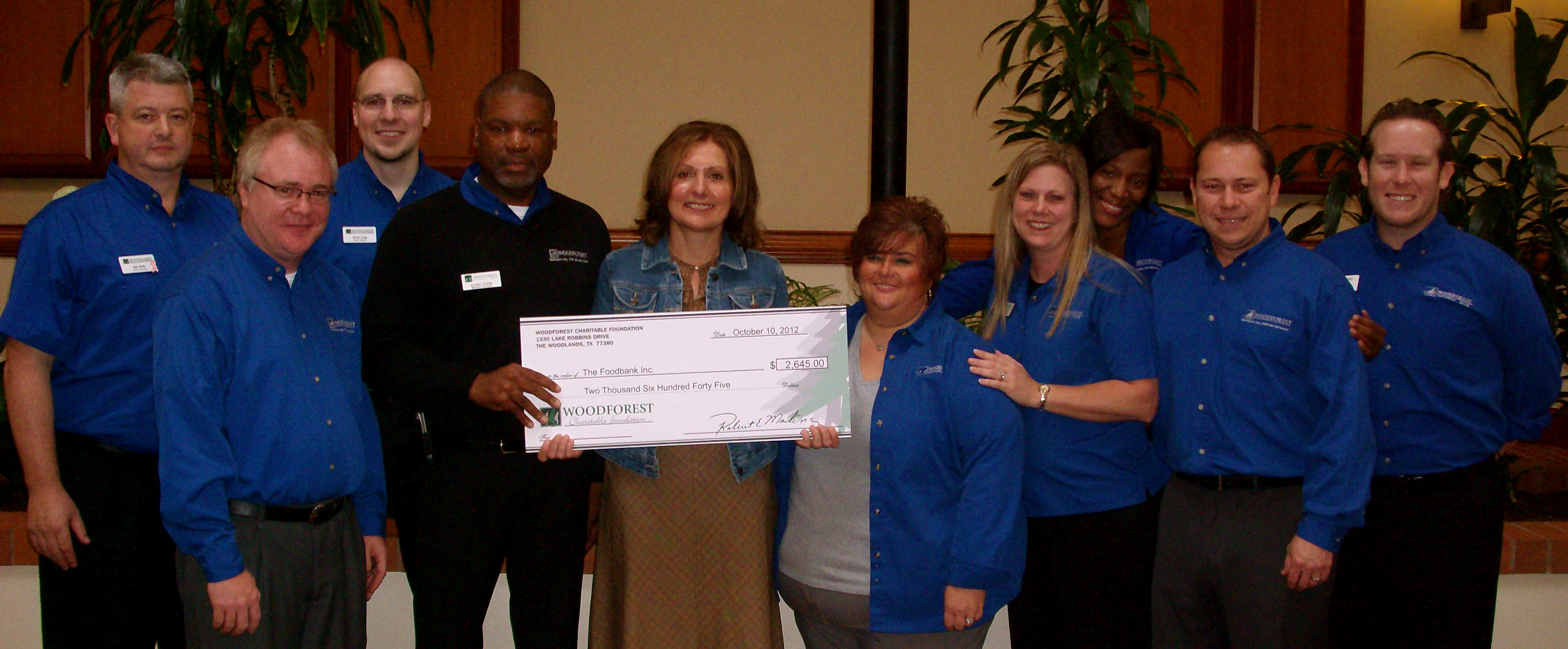 The Foodbank, Inc. receives $2,645 donation from Woodforest Charitable Foundation.