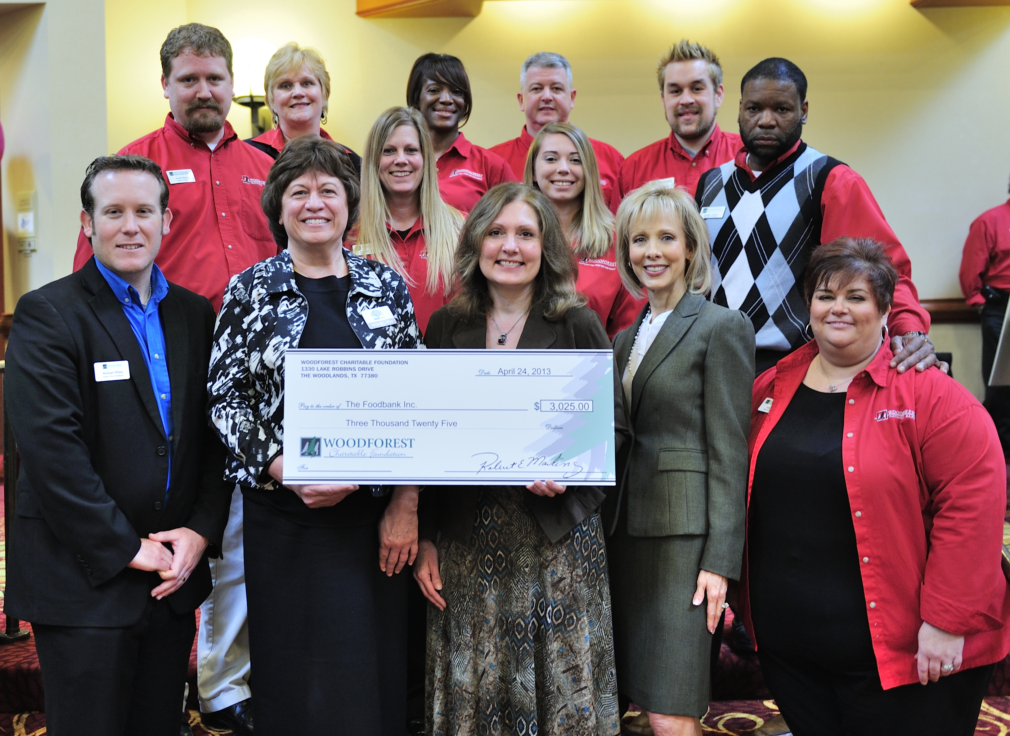 The Foodbank, Inc. receives $3,025 donation from Woodforest Charitable Foundation.
