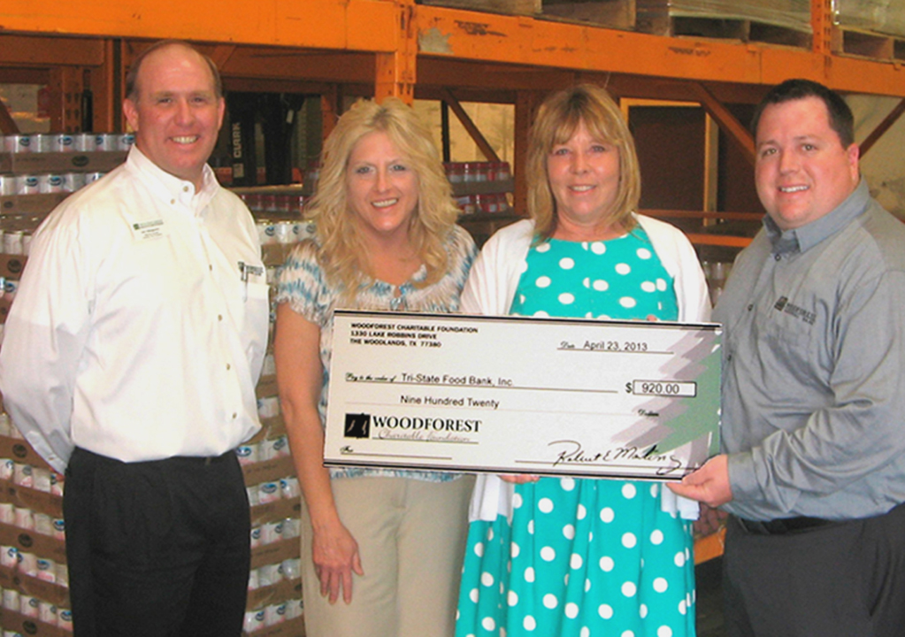 Tri-State Food Bank, Inc. receives $920 donation from Woodforest Charitable Foundation.